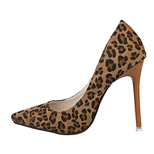 HooH Femmes Léopard Slip Stiletto Escarpins Marron