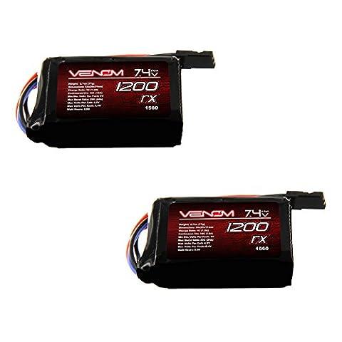 Venom 10C 2S 1200mAh 7.4 Hump Receiver LiPO Battery (Pack of 2)