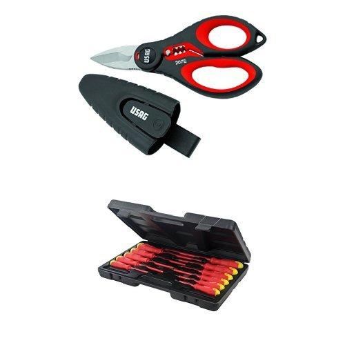 Usag 207 e - forbice professionale per elettricisti 02070006 + silverline 918535 - set 11 cacciaviti per elettronica, impugnatura morbida