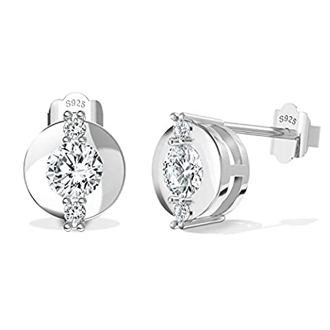 BlingGem 925 Sterling Silber Ohrring Stud Lünette Set mit 5A Cubic Zirkonia, Damen-schmuck