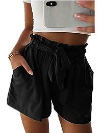 d26d03cd20222 Zonsaoja Las Mujeres High Wasit Beach Shorts Casual con Bolsillo Plisado  Cinturón