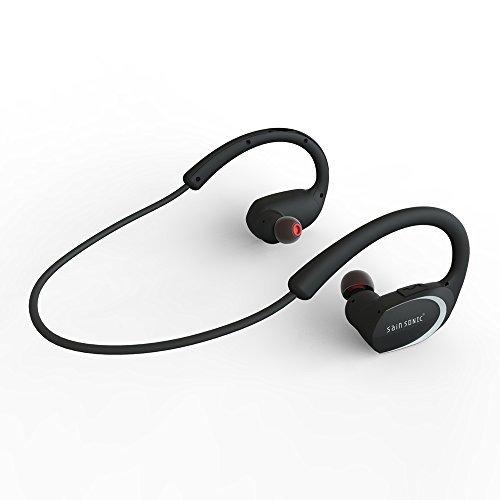 Bluetooth Kopfhörer, SainSonic R9 V4.1 Wireless-Sports HD Stereo-Ohrhörer , Leicht und wasserdicht für das Rennen, Eingebautes Mikrofon für iPhone, iPad, Macbook (Fashion Black)