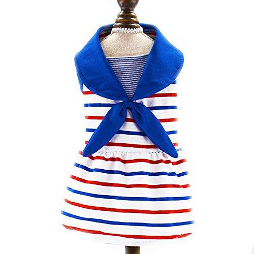 Marines Kleid Kostüm Blues - CHONGWU Haustierkleidung, Gestreifte Marine Rock Haustier Kostüm, Haustier Hund Bomei Teddy Zweibeiniges Kleid, Rock Haustier Hund Kostüm Prinzessin Kleid, Welpen Kleid,Blue,XL