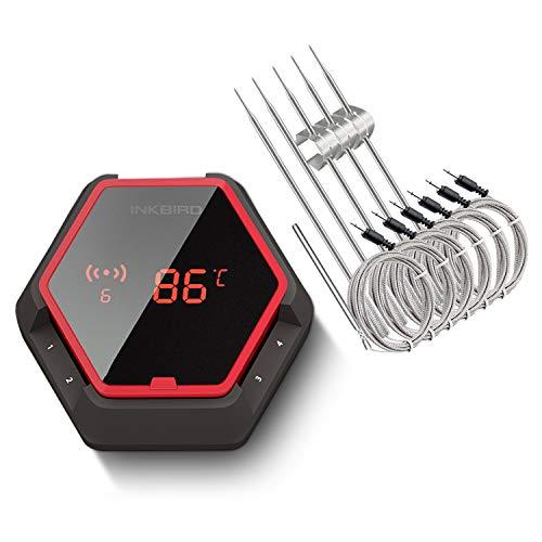 Inkbird IBT-6XS Grill Thermometer Digital Funk 6 Sonden mit dem 1000mAh Li-Batterie,Magnet und 180 Grad Bildschirmanzeige drehen für Ofen, Kochen, Outdoor Grill(Rot)