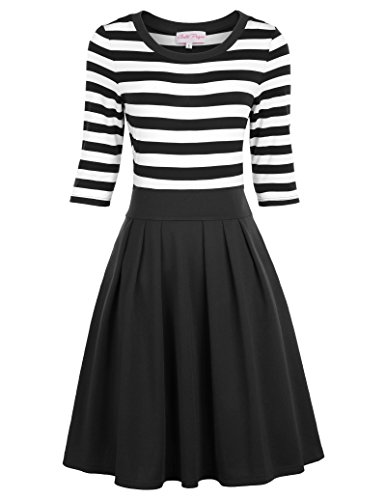 Petticoat Kleid 3/4-arm 50er Jahre Elegante Kleider Retro Kleider Streifen Swing Kleid BP316-1 S