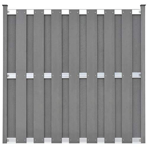 *Festnight- WPC Sichtschutzzaun mit 2 Pfosten 180 x 180 cm Grau Gartenzaun-Element Zaun Sichtschutz Windschutz Dichtzaun*