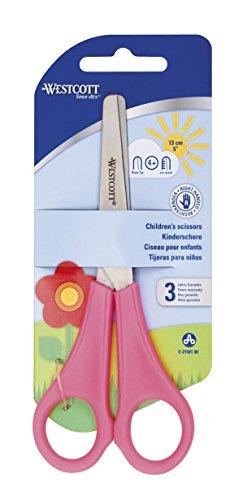 2x Kinder Kids Rechtshänder Schere mit Lineal Edge WESTCOTT Marken–Pink