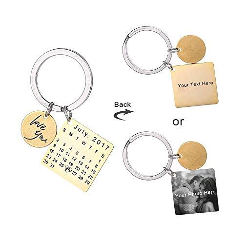 tzerdefinierte Gravierte Kalender Datum Gravierte Edelstahl Schlüsselanhänger und Schlüsselbund Memorial Andenken Jahrestag Hochzeitsgeschenk 3 Farben ()
