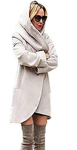CoCo Fashion Damen Mantel Winter Kapuzenjacke Dünne Lange Mantel Wolljacke Trenchcoat Mantel Herbst Parka Outwear, Hellgrau, Gr. Medium