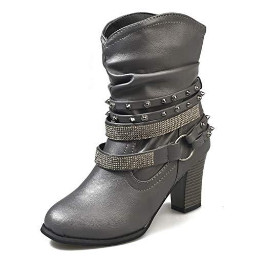 SHANGWU Damen Damen Block Chunky Heels Ankle Boots/Mid High Blockabsatz Reißverschluss Schnallen Geraffte Stiefel Mid-Calf Boots Slouch Boots Größe (Farbe : Grau, Größe : 36) -