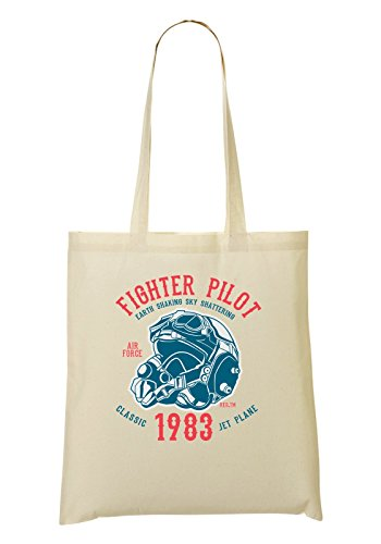 Fighter Pilot 1983 Classic Jet Plane Tragetasche Einkaufstasche (Musik-jet)