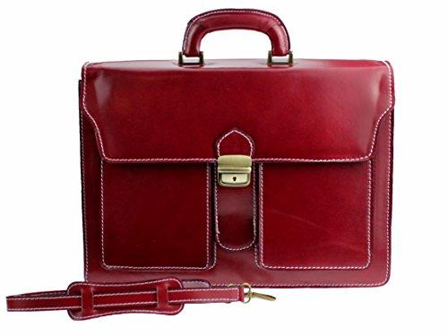 """Vintage Aktenkoffer Aktentasche in diversen Farben   Echtes Leder made in Italy   """"Yosemite"""" B40xH30xT13 Rot"""