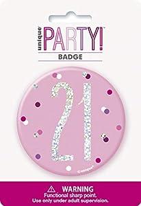 Unique Party 83531 - Insignia de cumpleaños, color rosa y plateado