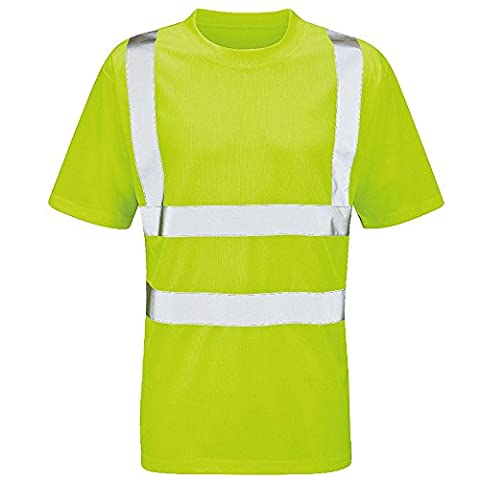 Raiken Hi Vis Visibility Crew Neck T-Shirt High Viz Work Tee Top Size XL Yellow