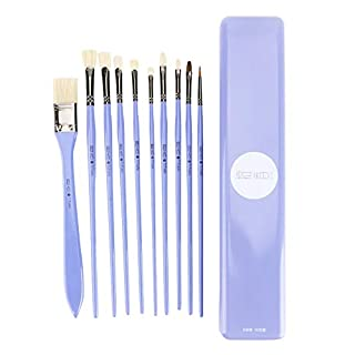 Artist paint brush, 10 pieces of bristle professional art brush acrylic painting fine painting pen wooden handle painting supplies, suitable for gouache, oil painting, beginners and artists