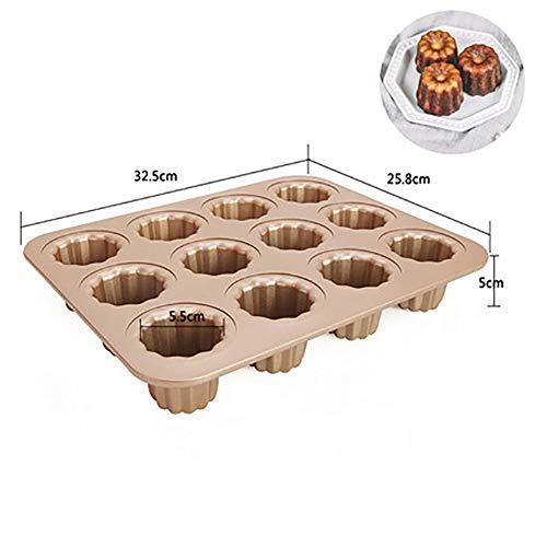 MSM Cartoon Förmchen, 12 hohlraum Cannele Non-Stick Kohlenstoffstahl Canneles pfanne Canele schimmel Backen Kuchen Backformen-C 32.5x25.8x5cm -