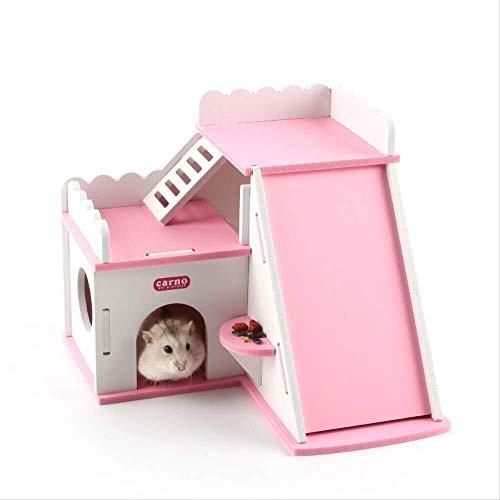 Houseshouses Pet AccessoriesHedgehog Hamster Holzhausvilla mit Schiebeleiter Zimmer auf dem Dach Kleines Haustierbett Geschenk Haustierhaus Haustierzubehör