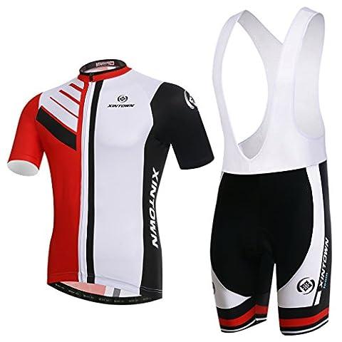 Skysper ®Maillot de Cyclisme Manches Courtes + Cuissard A Bretelles pour Homme