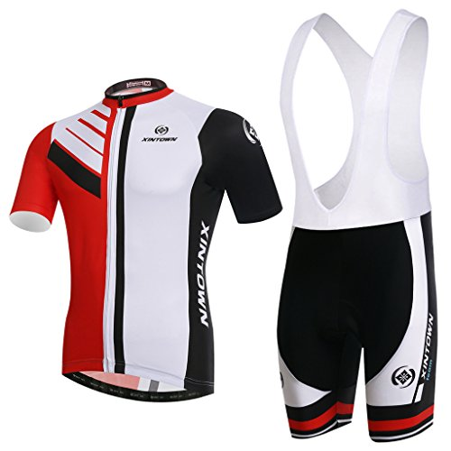Skysper Men Comfortable Stylish Cycling Clothing Set Short Sleeve Cycling Jersey + Cycling Pants