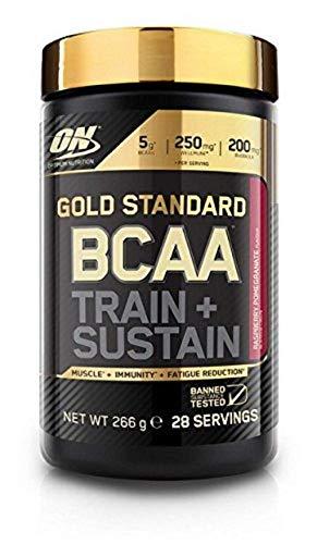 Optimum Nutrition Gold Standard BCAA- Verzweigtkettige Aminosäuren (mit Vitamin C, Wellmune, Rhodiola rosea und Elektrolyten, BCAA Pulver von ON) Raspberry und Pomegranate, 28 Portionen, 266g -