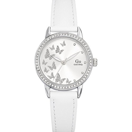 Go Girl Only Damen-Armbanduhr Quarz analog silberfarbenes Zifferblatt Leder-Armband Weiß 698605