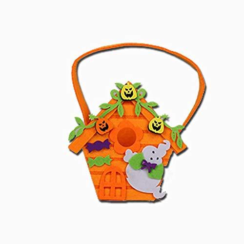Hilai Halloween Trick Treat Bags Haus Form Traditionelle Halloween Candy Bag ideal Kids (Orange) 1pcs