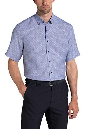 c947fbb976 Eterna Half Sleeve Shirt Modern FIT Linen Structured Blue