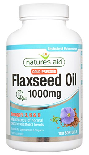 41nM%2BhF9yoL - BEST BUY #1 Natures Aid Vegetarian Flaxseed Oil (Cold Pressed) 1000mg (Omega 3, 6 & 9) - Pack of 180 Capsules Reviews and price compare uk