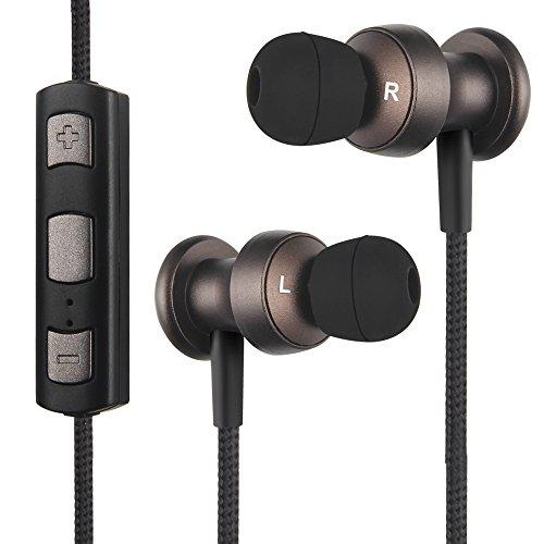OneOdio Bluetooth Kopfhörer In-Ear Ohrhörer Stereo mit Mikrofon, Magnetisch Wireless Sport Headset für Smartphone Handy iPhone 6S 6 Plus 5S 5 5C 4S iPad Pro Air 2 Android Galaxy S8 S7 S6 Edge S5 S4 Mini Schweißresistent (Braun)