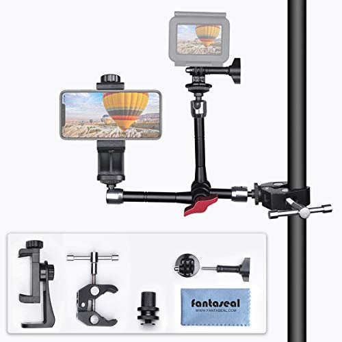 Dual Köpfe Gelenkarm DSLR Systemkamera Kamera Halter Massiv Kugellager Magic Arm Videolicht Blitzgerät Bike Mount Halterung für iPhone GoPro Sony Action Camera+ Smartphone+LED/Flash Light/ LCD Monitor