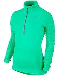 Nike Element Half Zip Camiseta de Manga Larga con Cremallera de 1/2, Mujer, Verde Resplandor, L