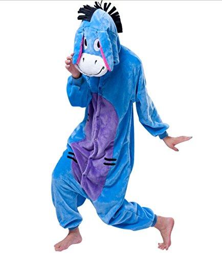 Padgene Pyjama Animaux Cosplay Halloween Déguisement Adulte Unisexe Bleu - L - âne