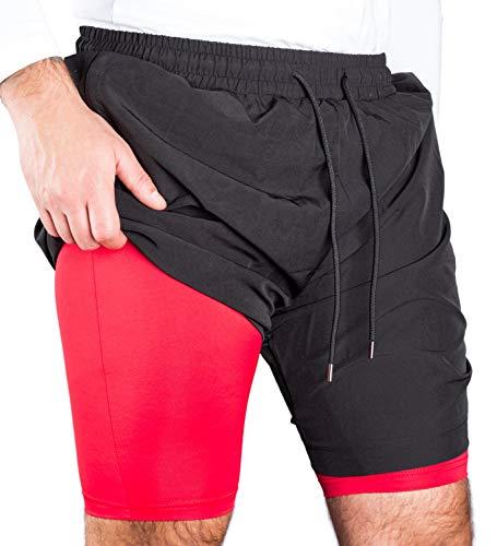 RR Sports 2 in 1 Shorts Herren Sporthose kurz mit Reißverschluss Hose Gym rot