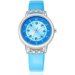 Kezzi Girls Watches Leather Band Flower Pattern Analog Quartz Fashion k1410