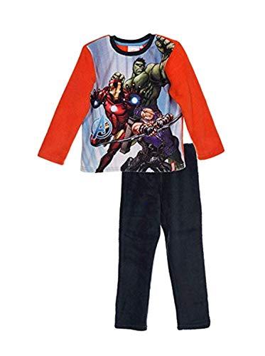 Marvel Avengers Zweiteiliger Kinder Winter Schalfanzug Pyjama Nachthemd Hose + Langarm Shirt aus Thermo Polar Fleece Vlies warm weich - schönes Geschenk für Jungen (rot, 104) - Nachthemd Langarm Thermo