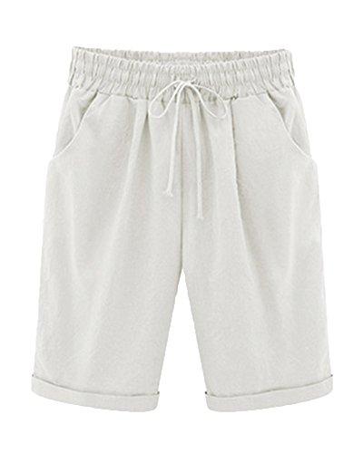 Donna pantaloncini bermuda puro colore casual comode sciolto taglie forti shorts bianco m