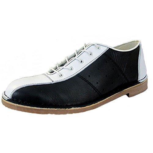 Ikon Original - Herren Bowling-Schuhe aus Leder - Mod/60er/70er - Schwarz/Weiß - EU44 UK10
