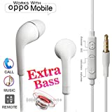 Nabster In-Ear Headphone For Oppo F5, Oppo F5 Youth, Oppo F3, Oppo A57, Oppo F1s, Oppo A83, Oppo A37, Oppo F3 Plus Earphones Like Headsets | Handsfree With Mic, Calling, Music, 3.5mm Jack (White)