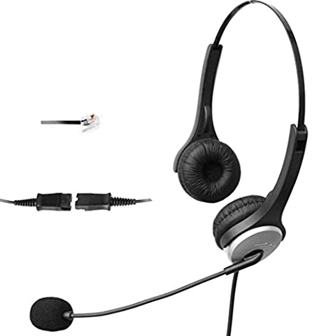 4Call H502QCM Dual Call Center Telephone RJ Headset with NC Mic + QD + Volume mute Controls for Plantronics M10 M22 Vista Adapter and AT&T CallMaster V VI & Cisco Unified Office IP Phones 7941G