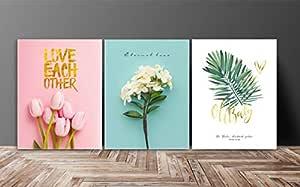 SAF Set of 3 Love Flower Design UV Coated 6MM MDF Home Decorative Gift Item Painting 12 inch X 27 inch SANFC12218, Floral, Multicolour