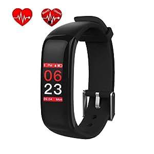 OMNiX™ P1 Plus Sports Band Color Display Waterproof Heart Rate Blood Pressure Monitor Smart Bracelet_Black
