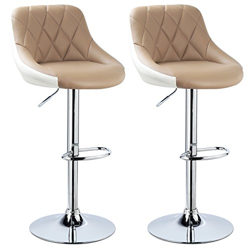 Woltu bh30kk-2 sgabelli da bar sedia cucina con schienale poggiapiedi similpelle cromato altezza regolabile girevole moderni classici colorato cachi+bianco coppia set 2
