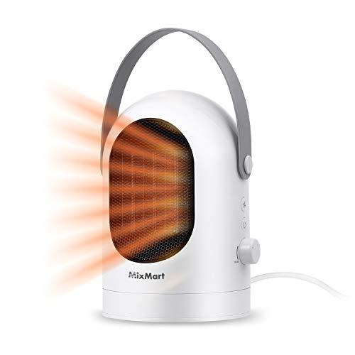 MixMart Heizlüfter Mini Heizgerät Mobiler Elektroheizer PTC Keramikheizgerät Warm/Natürlich 3s Schnellheitzer Energiesparend mit Überhitzschutz Umkippschutz für Zuhause und Büro