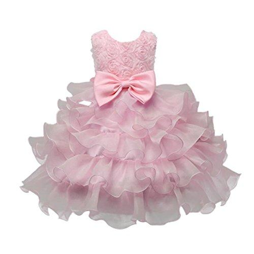 ❤️Kobay Kinder Baby Mädchen Blumen Geburtstag Hochzeit Brautjungfer-Festzug Prinzessin Abendkleid (110/4-5Jahr, Rosa)