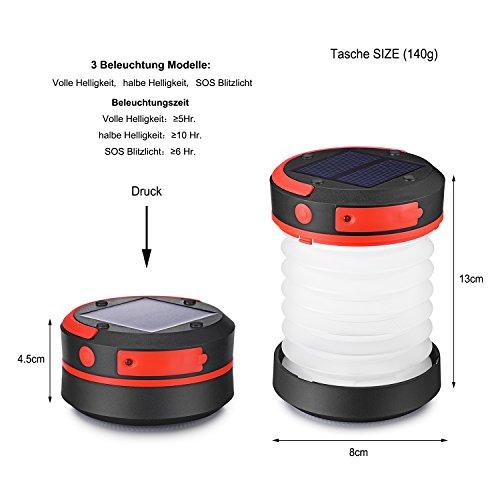 Preisvergleich Produktbild Liqoo Solar LED Campinglampe faltbar Zelt Laterne Powerbank Funktion Camping-Leuchte Wasserdicht 3 Stufen Helligkeiten Notfall-leuchte