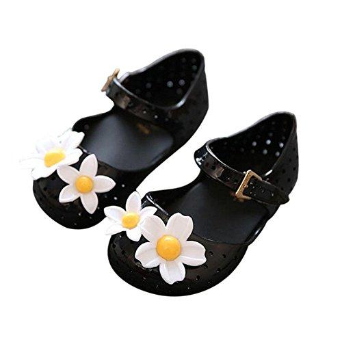 Meijunter Baby Mädchen Niedlich Blumen Atmungsaktiv Mode Anti-Rutsch Weich Gelee Schuhe Kinder Kleinkind Strand Sandalen Regen Stiefel Schwarz
