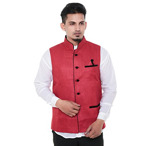 Twist Mens Sleeveless Festive Nehru Jacket Casual Wear Plain Waistcoat (Red)  available at amazon for Rs.899