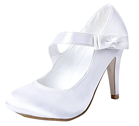 AgeeMi Shoes Femme Chaussure Boucle Mariage Escarpins Bout Round Chaussures,EuD41 Blanc 37