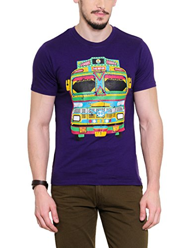 Yepme Men's Purple Graphic T-shirt -YPMTEES0258_S  available at amazon for Rs.179