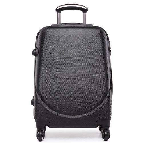 Kono Trolley ABS bagaglio a mano Valigia rigida con 4 ruote,Ideale a bordo di Ryanair, Alitalia (Nero)